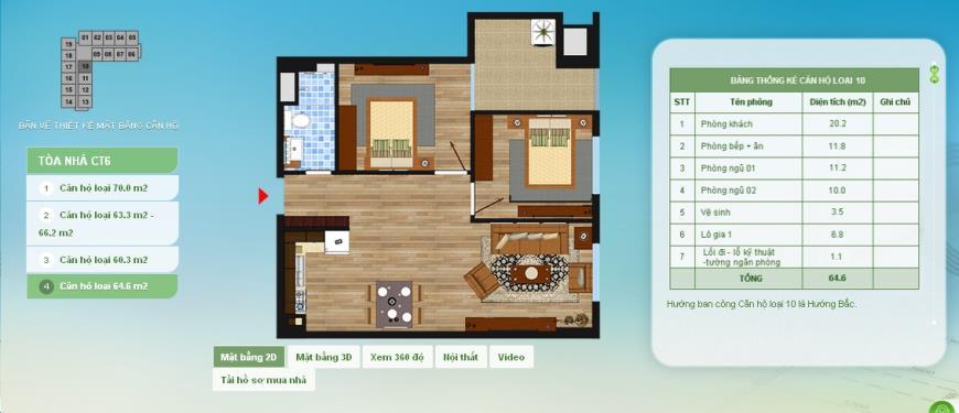 10 Chung cư Hồng Hà Eco City - Tầng: 10