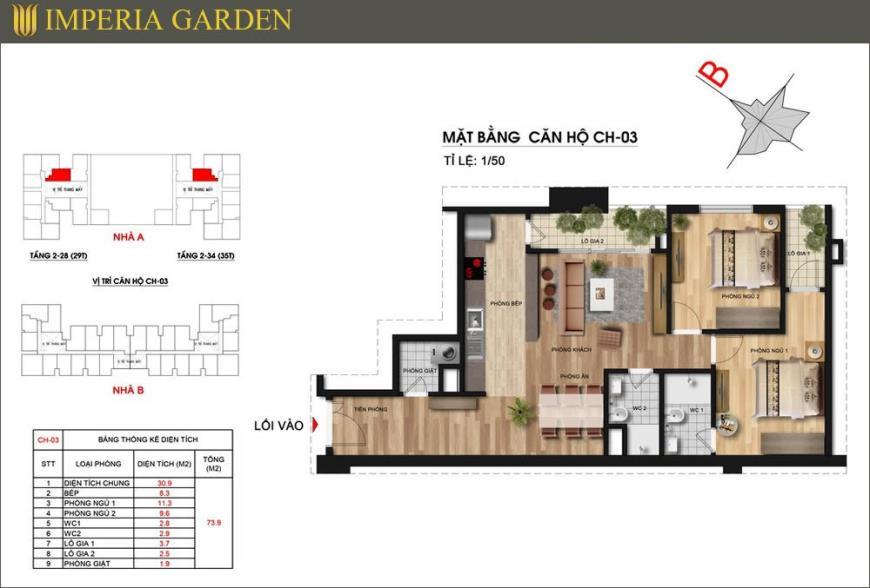 Mặt bằng CH03 dự án căn hộ Imperia Garden