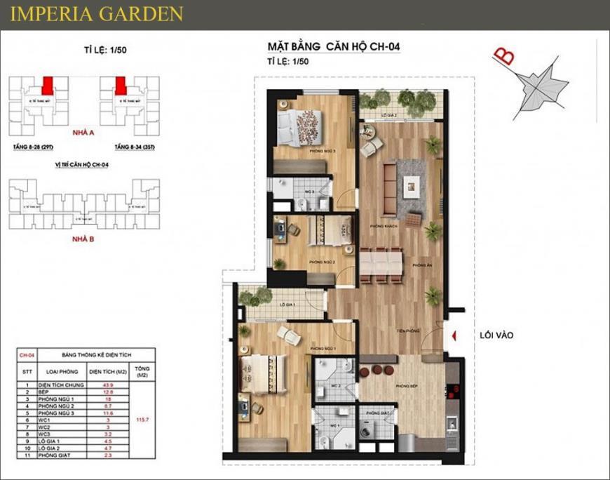 Mặt bằng CH04 dự án căn hộ Imperia Garden