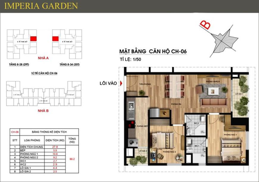 Mặt bằng CH06 dự án căn hộ Imperia Garden