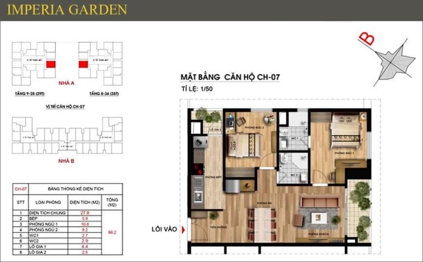 Mặt bằng CH07 dự án căn hộ Imperia Garden