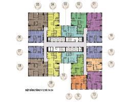 Mặt bằng tầng 9 đến 12 và 14 đến 34 Tháp A