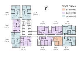 Sơ đồ chi tiết tòa C1 tầng 2-14
