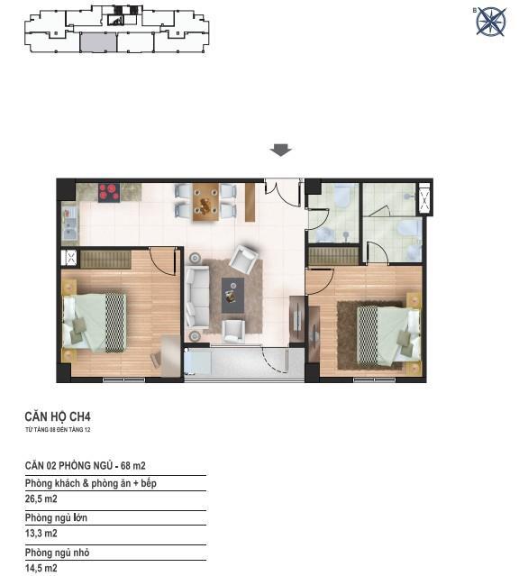 Căn hộ CH04, CH 05 diện tích 68 m2