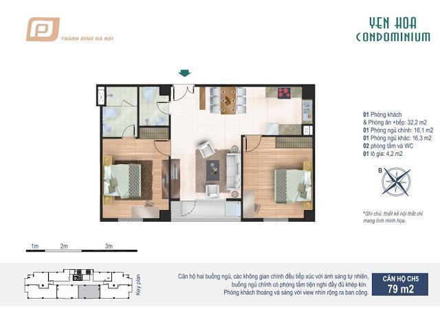 Căn CH5 tầng 6 Chung cư Yên Hòa Condominium