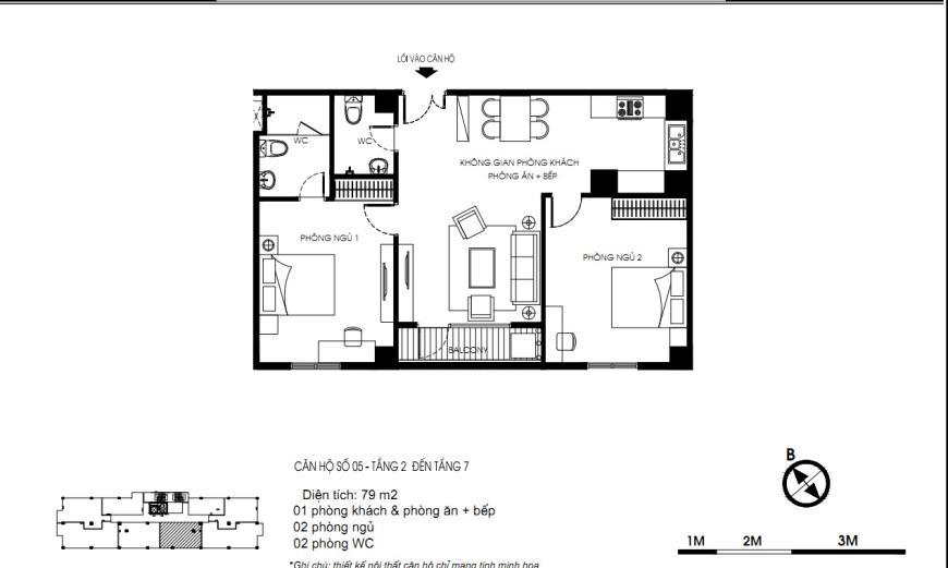 06 Tòa N01 tầng 2-7 tầng 7- Chung cư Yên Hòa Condominium