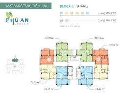 Mặt bằng tầng điển hình Block C căn hộ Phú An Cent