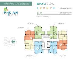 Mặt bằng tầng điển hình Block E căn hộ Phú An Cent