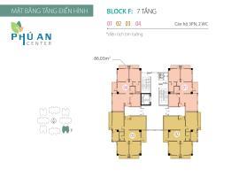 Mặt bằng tầng điển hình Block F căn hộ Phú An Cent