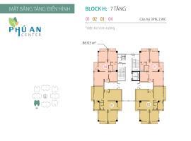 Mặt bằng tầng điển hình Block H căn hộ Phú An Cent