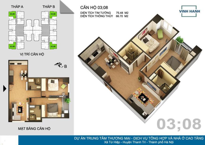 Bán căn hộ 83m2 căn 1209 đẹp nhất tòa A
