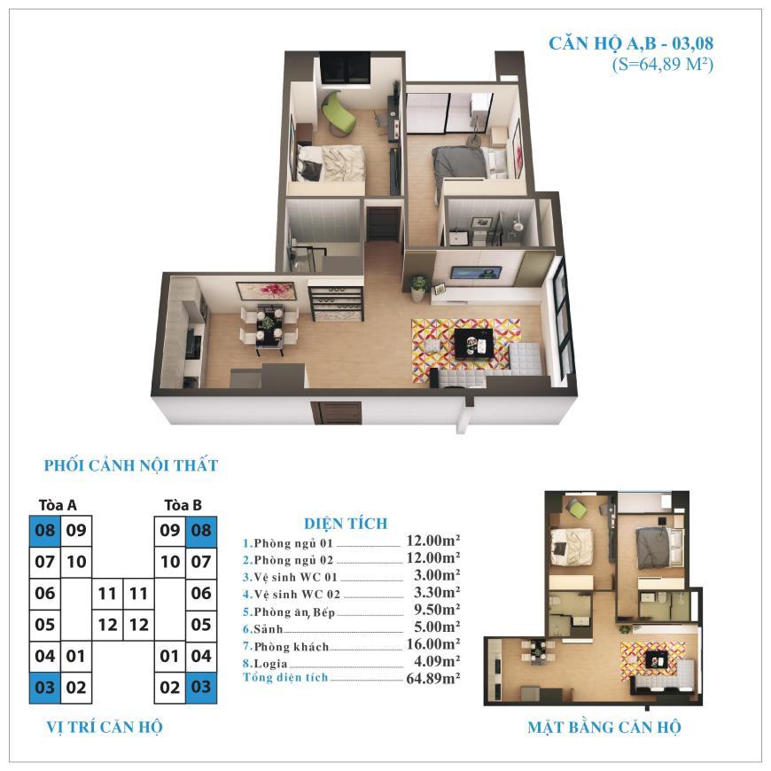 Căn hộ 03,08 chung cư Tứ Hiệp Plaza