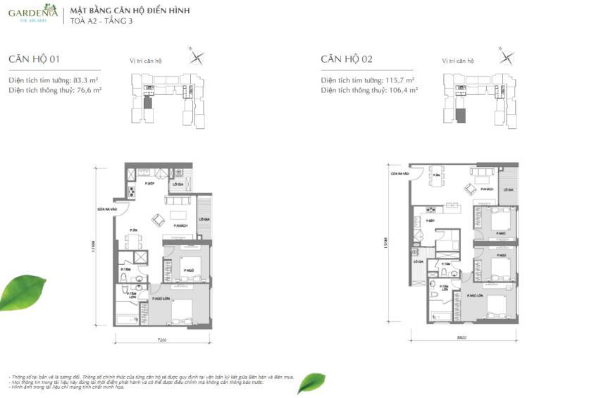 Căn hộ 01 và 02 tòa A2 chung cư Vinhomes Gardenia