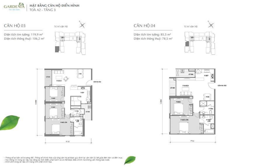 Căn hộ 03 và 04 tòa A2 chung cư Vinhomes Gardenia