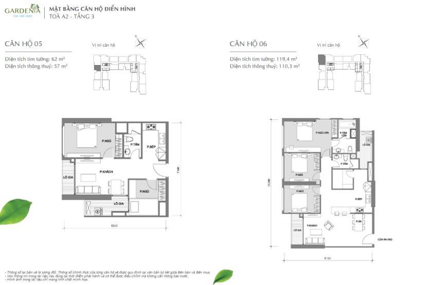 Căn hộ 05 và 06 tòa A2 chung cư Vinhomes Gardenia
