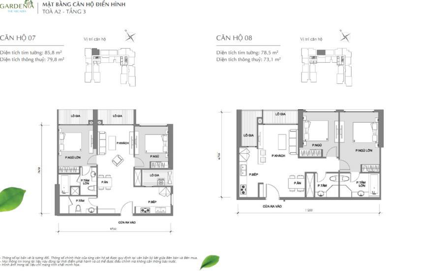 Căn hộ 07 và 08 tòa A2 chung cư Vinhomes Gardenia