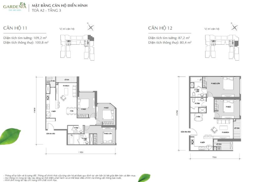 Căn hộ 11  và 12 tòa A2 chung cư Vinhomes Gardenia