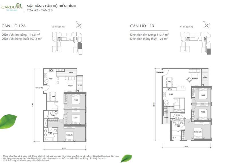 Căn hộ 12A  và 12B tòa A2 chung cư Vinhomes Gardenia
