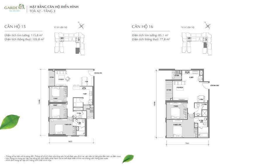 Căn hộ 15  và 16 tòa A2 chung cư Vinhomes Gardenia