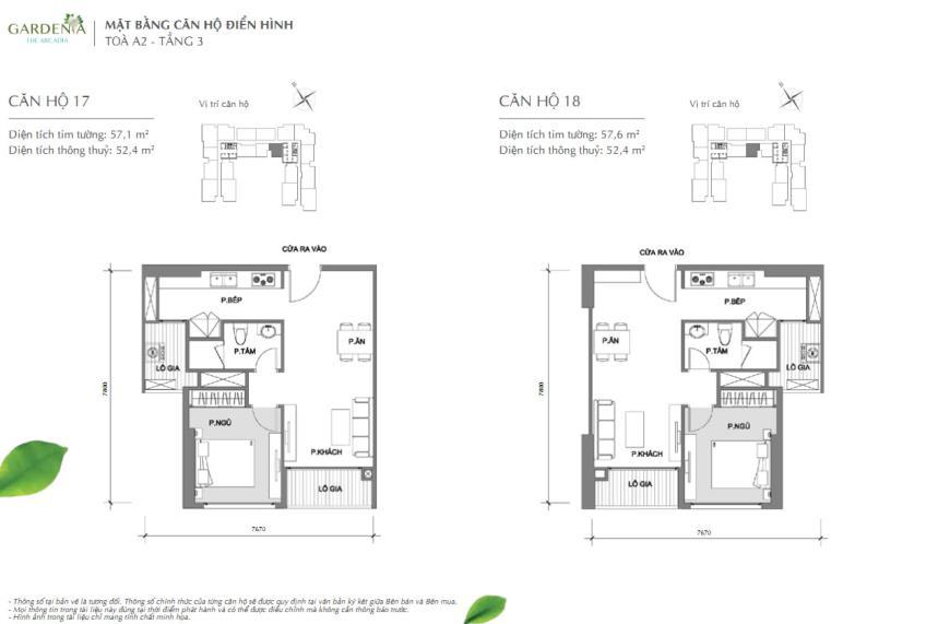 Căn hộ 17  và 18  tòa A2 chung cư Vinhomes Gardenia