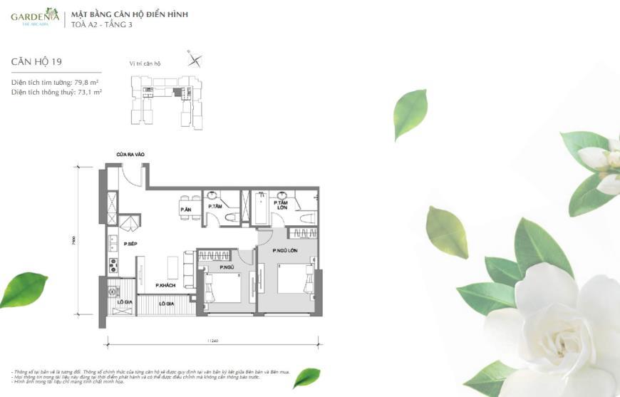 Bán căn 19 Tòa A2 tầng 18-Vinhomes Gardenia Mỹ Đình