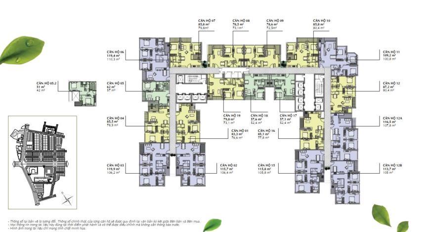 Mặt bằng tầng điển hình  tòa A2 chung cư Vinhomes Gardenia