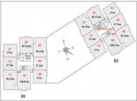 Mặt bằng tầng điển hình B1B2 Tây Nam Linh Đàm