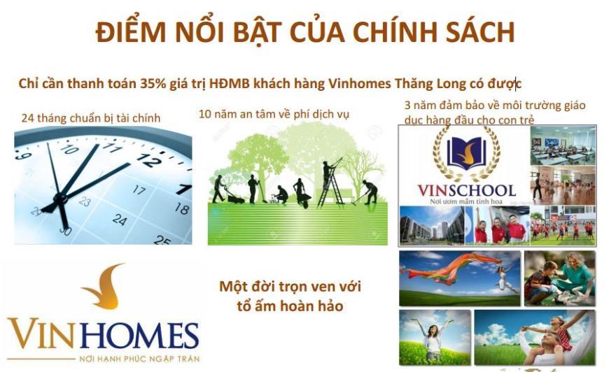Điểm nổi bật của chính sách bán hàng Vinhomes Thăng Long
