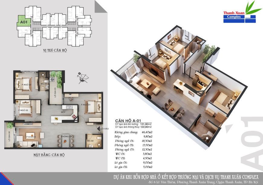 Căn A01 Chung cư Thanh Xuân Complex tầng 8