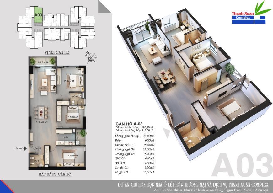 Căn hộ A02 chung cư Thanh Xuân Complex