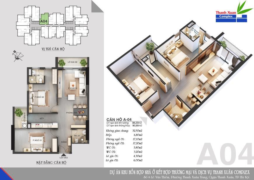 Căn A04 Chung cư Thanh Xuân Complex tầng 8