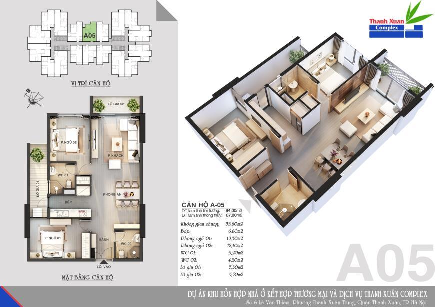 Căn A05 Chung cư Thanh Xuân Complex tầng 8