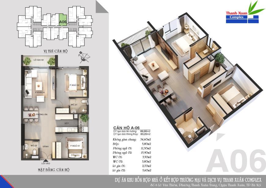 Căn A06 Chung cư Thanh Xuân Complex tầng 14