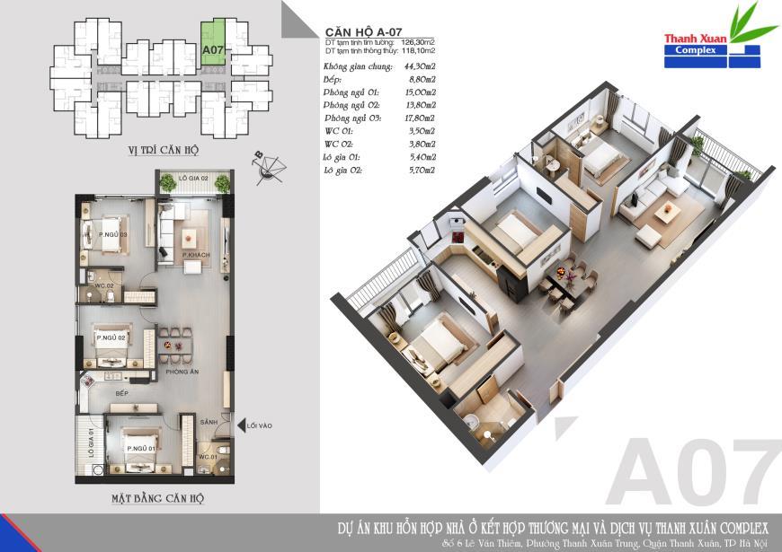 Căn A07 Chung cư Thanh Xuân Complex tầng 14