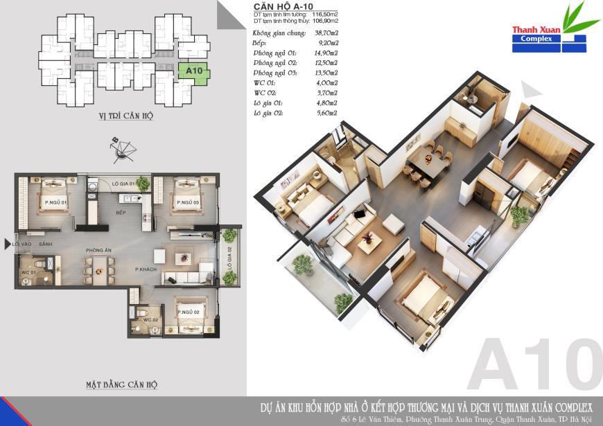 Căn A10 Chung cư Thanh Xuân Complex tầng 8