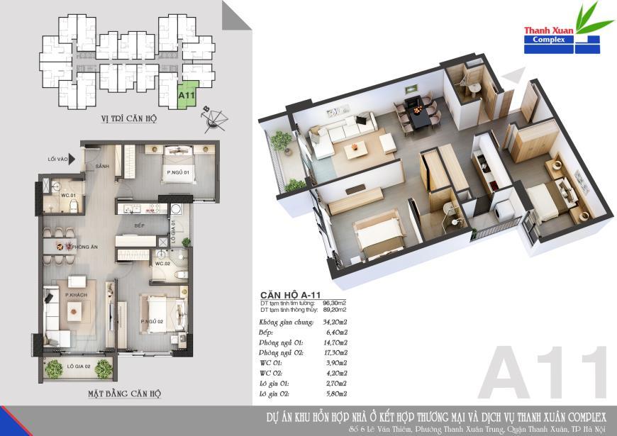 Căn A11 Chung cư Thanh Xuân Complex tầng 14