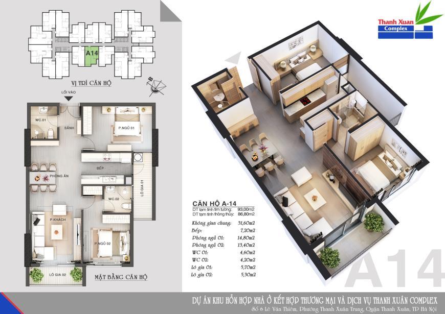 Căn A14 Chung cư Thanh Xuân Complex tầng 8