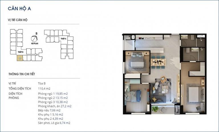 Căn 02 Tòa A tầng 10 Chung cư Rivera Park Hà Nội