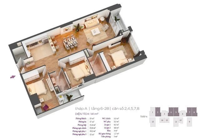 Căn 02 Tháp tầng 11 Chung cư Hồ Gươm Plaza