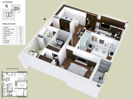 Chi tiết thiết kế mặt bằng căn hộ 2 phòng ngủ dự á