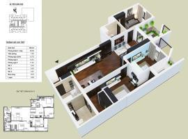 Chi tiết thiết kế mặt bằng căn hộ 3 phòng ngủ dự á