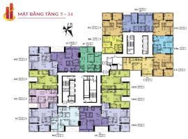 Mặt bằng tầng 5-34 tòa căn hộ HPC LandMark 105