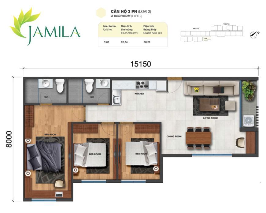 05 Bloc C tầng 10-Căn hộ Jamila Khang Điền