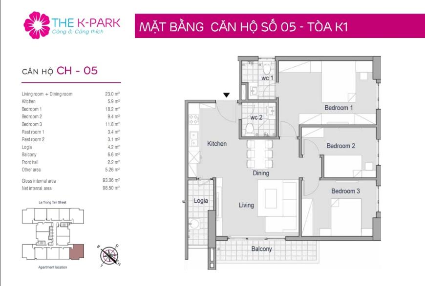 05 Tòa K1 tầng 12-Chung cư The K-Park Văn Phú