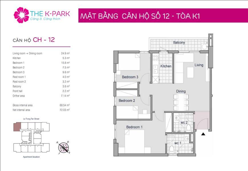 12 Tòa K1 tầng 12-Chung cư The K-Park Văn Phú