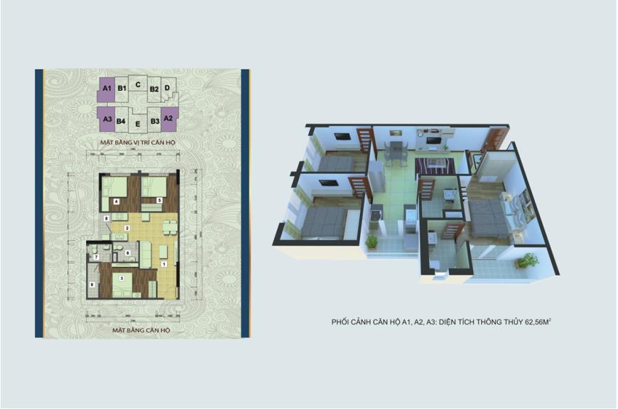 Căn hộ A1, A2, A3 chung cư Handico 30 Nghi Phú