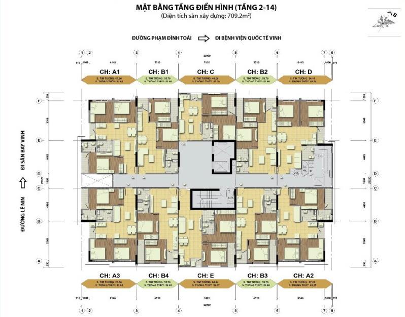 Măt bằng tầng điển hình chung cư Handico 30 Nghi Phú