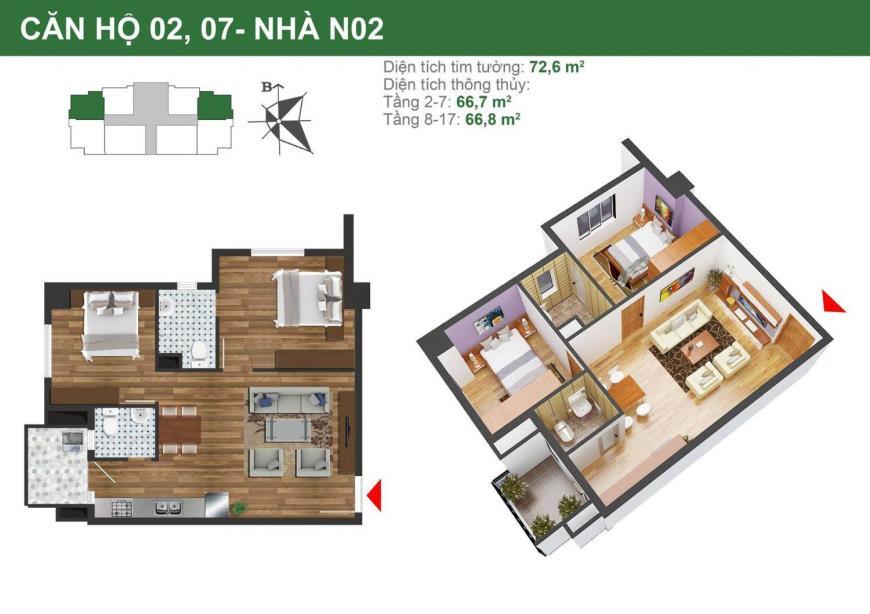 Căn hộ 02, 07 tòa N02 dự án K35 Tân Mai