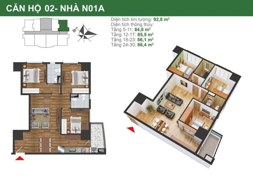 Căn hộ 02 tòa N01a dự án K35 Tân Mai