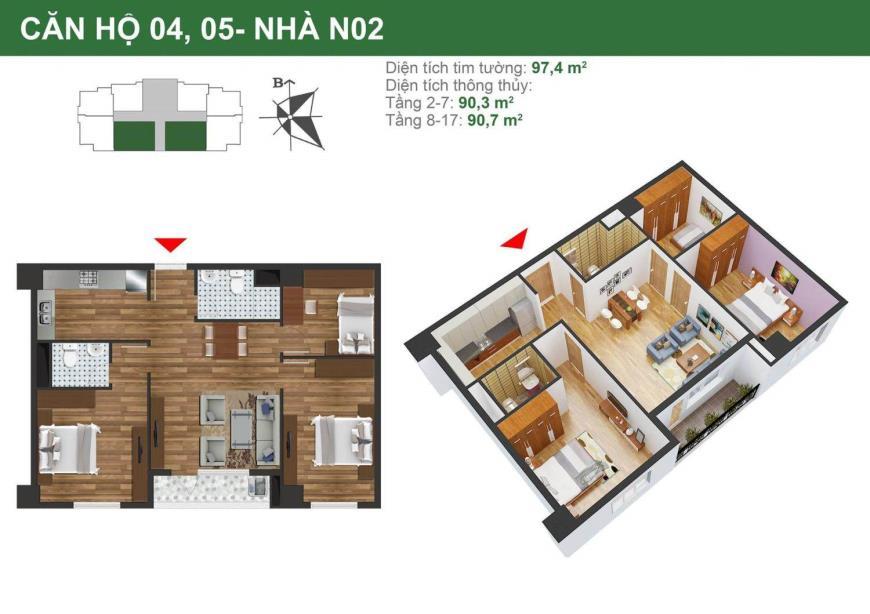 Căn hộ 04,05 tòa N02 dự án K35 Tân Mai